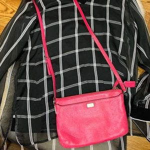 Coach Cross Body Purse Bright Pink Leather